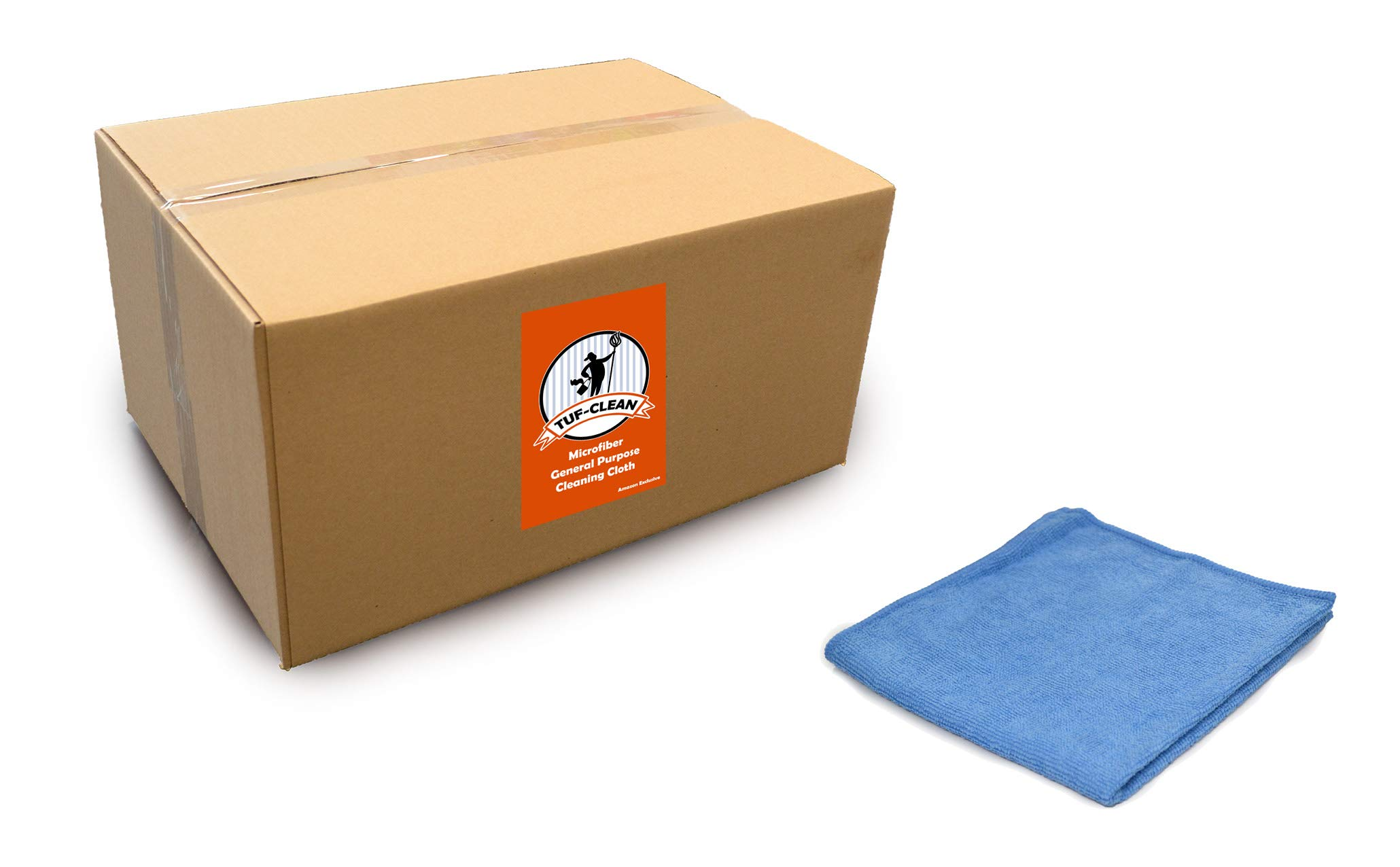 Tuf-Clean A73101 General Purpose Microfiber Cleaning Cloth, Heavy Weight, 16'' x 16'', Blue, Pack of 180 by Tuf-Clean