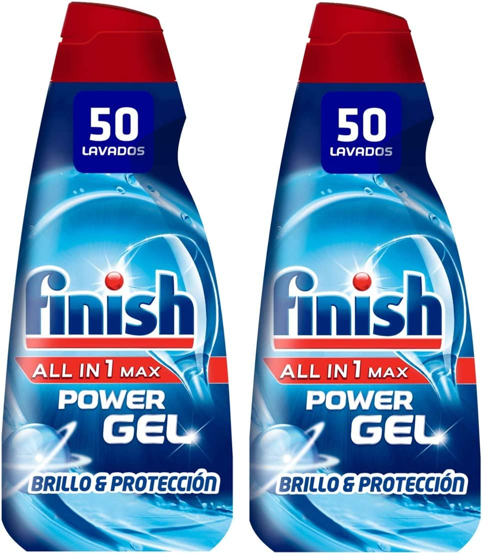 Finish All in 1 Max Power Gel Brillo & Protección Detergente Gel para el Lavavajilla, 2 unidades - 100 lavados