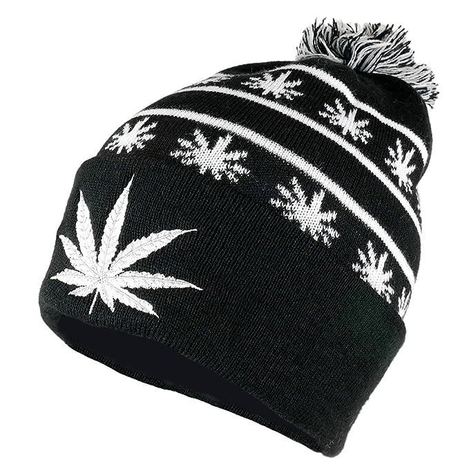 Amazon.com  Marijuana Leaf Pom Pom Acrylic Beanie Hat - Black White ... 92fc9c39c0e8
