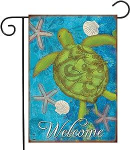 "Briarwood Lane Sea Turtle Summer Garden Flag Welcome Starfish Nautical 12.5"" x 18"""