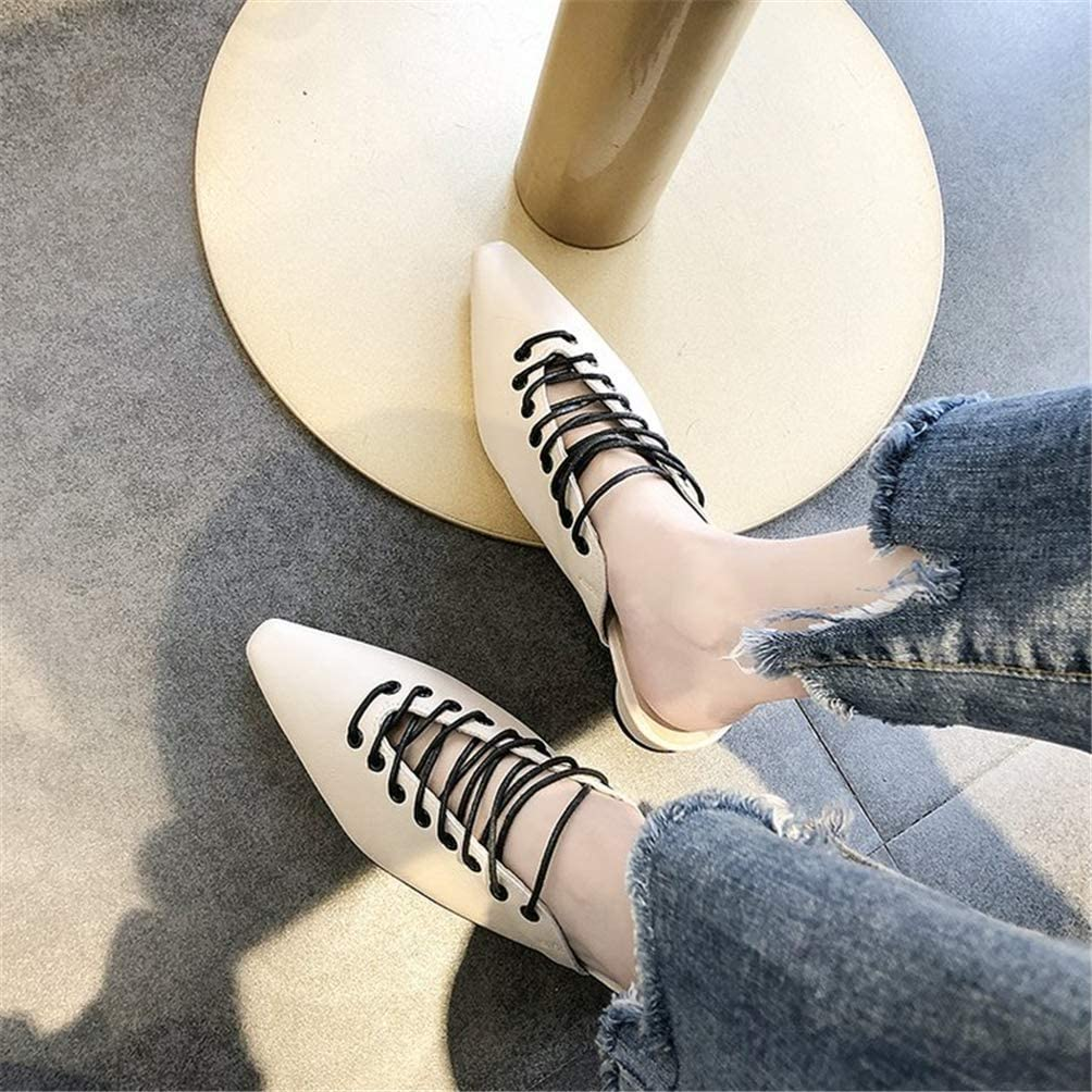 FLourishing Womens Fashion Casual Slip On Low Heeled Mules Lace up Loafer Flat Slides Sandals Shoes