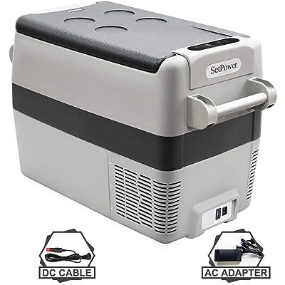 SetPower AJ40 42 Quarts Portable Freezer Fridge 12V Cooler, 0℉-50℉, DC 12/24V, AC 110-240V, Car Fridge Compact Refrigerator, for Truck, Van, RV Road Trip, Outdoor, Camping, Picnic, BBQ, Patio: Appliances [5Bkhe1509488]