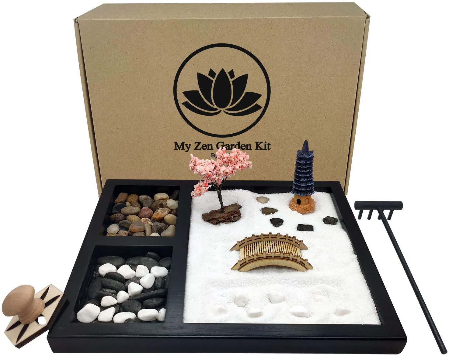 Oritlife Zen Garden for Desk with Three Grid Square Sandbox, Mini Meditation Zen Garden Kit , River Rocks, Bamboo Rake, Wooden Bridge, White Sand, Cherry Blossom Tree, Pagoda