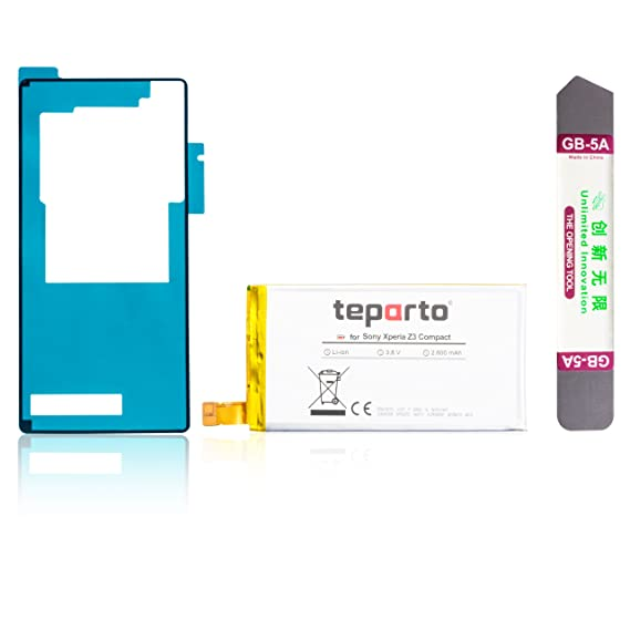 teparto Akku für Sony Xperia Z3 Compact inkl. Kleber für Backcover und Öffnungswerkzeug