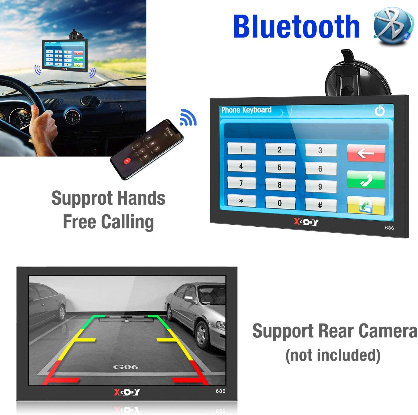 9 Inch Touch Screen Car GPS Navigation System with Bluetooth 8GB Satellite Trucker GPS Devices with Free Lifetime Maps Update Contains USA Canada Mexico Xgody GPS Navigation for Car Truck Vehicle