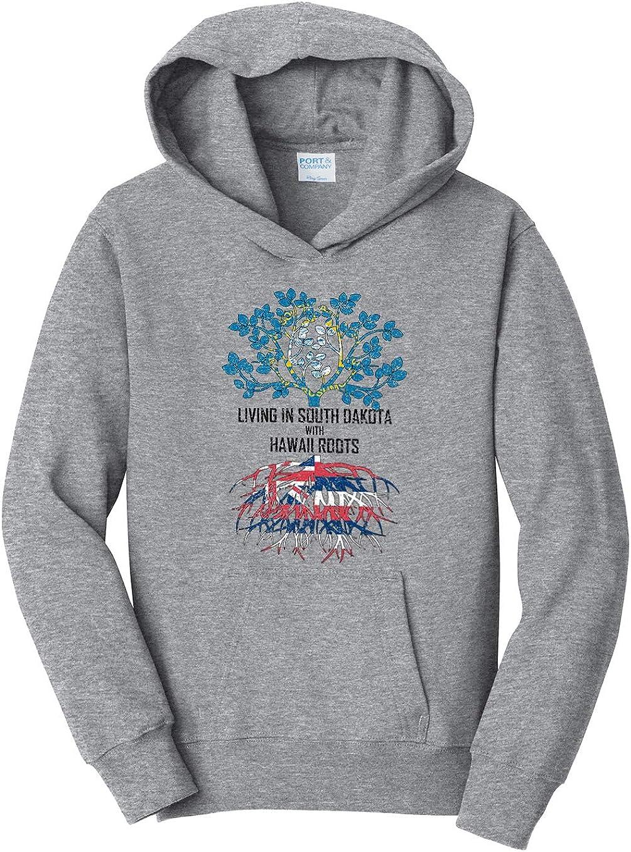 Tenacitee Girls Living in South Dakota with Hawaii Roots Hooded Sweatshirt