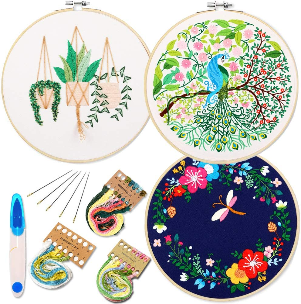 1 Embroidery Hoops 3 Pack Embroidery Starter Kit with Peacock Dragonfly Pattern and Instructions Full Range of Stamped Embroidery Kits with 3 Embroidery Clothes with Flamingo Plants Flowers Pattern