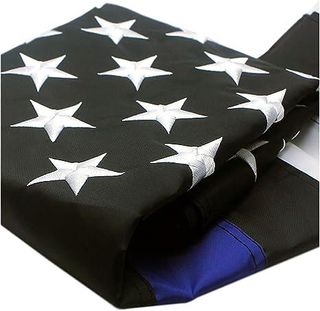fedsjuihyg Thin Blue Line Flag 3x5 Ft Nylon Gestickte Sterne Gen/äht Stripes Blue Line USA Banner Flaggen f/ür Polizei und die Strafverfolgungsbeh/örden