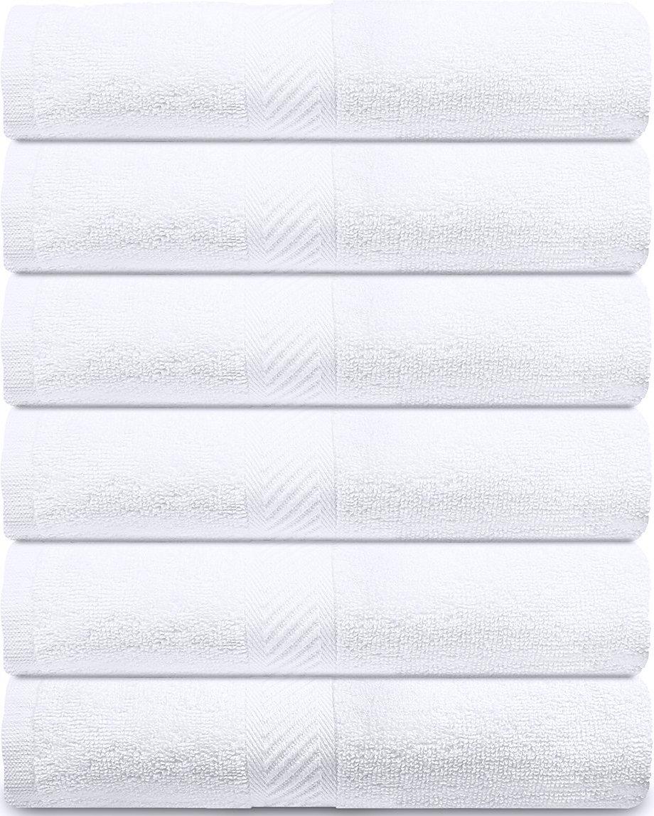 Utopia Towels - Toallas de baño Cotton Pool Gym (paquete de 6, 56 x 112 centímetros) - 500 GSM - Toalla de secado rápido multipropósito ligera - Blanco: ...