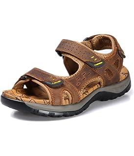 Sport Sandale, Nasonberg Cowhide Unisex Herren Damen Strand Wandern Sommer Sandale im Freien Wandern Sport Sandale-Braun, 41 EU