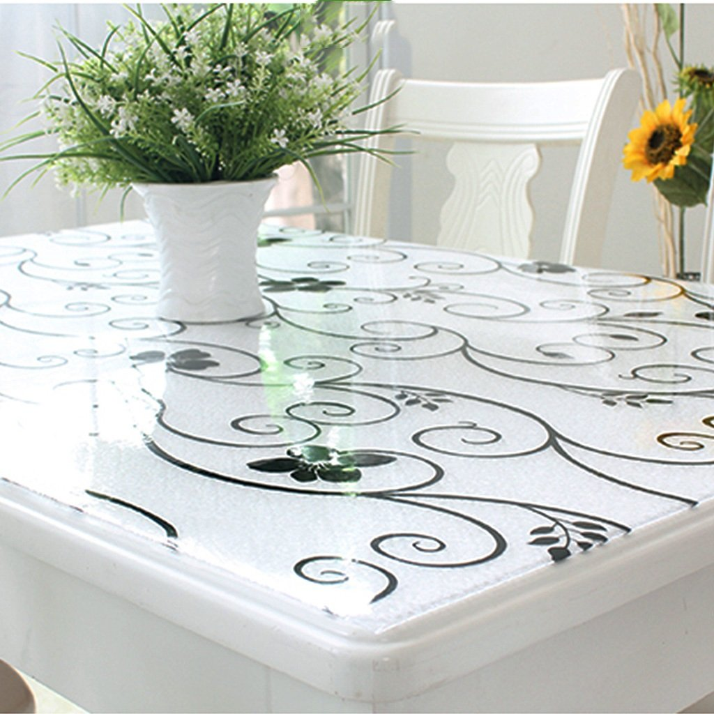 Gtt Soft glass PVC tablecloth waterproof anti-scalding Taiwan crystal table transparent coffee table Transparent pad (color   B, Size   80x80cm)