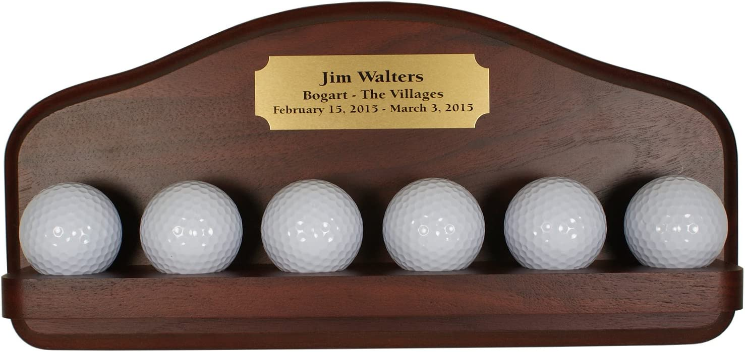Six Golf Ball Display with Free Engraved Plate~Solid Wood~Made in USA 719jPOGhDNL