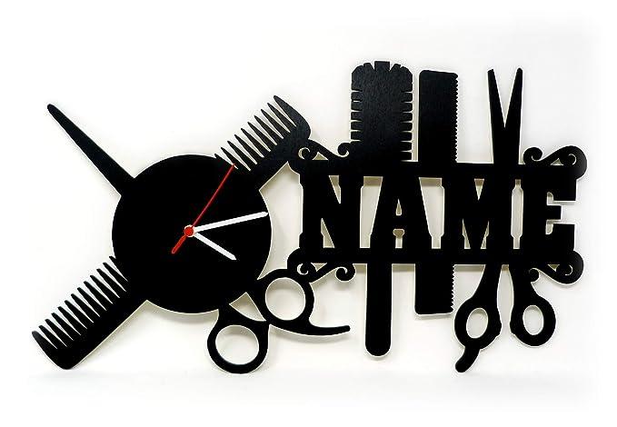 Originale orologio da parete in legno regalo per parrucchieri con