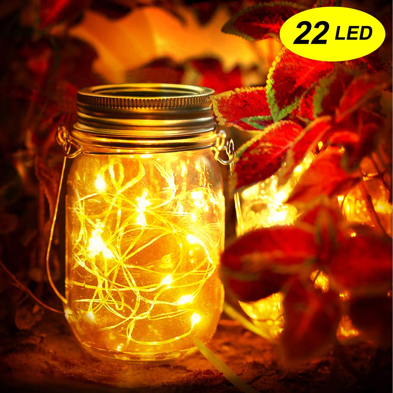Hof Party,Wand,Baum etc Warmwei/ß Hochzeit Mr.Twinklelight/® Solarlampe//Solar-Laterne,22 LED Solar Lichterkette Original Solarglas Dekoration f/ür Weihnachten,Gartendeko,Au/ßen