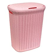 Wee's Beyond W08-1076-PINK Knit Style Laundry Hamper 55 Liters, Pink