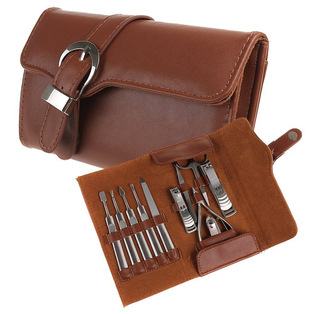 BestFire 11pcs Manicure Set Luxury/Deluxe Genuine Brown Leather Nail Care Personal Manicure & Pedicure Set, Manicure Travel & Grooming Set Kit, Nail Clipper Nail set01-Gm