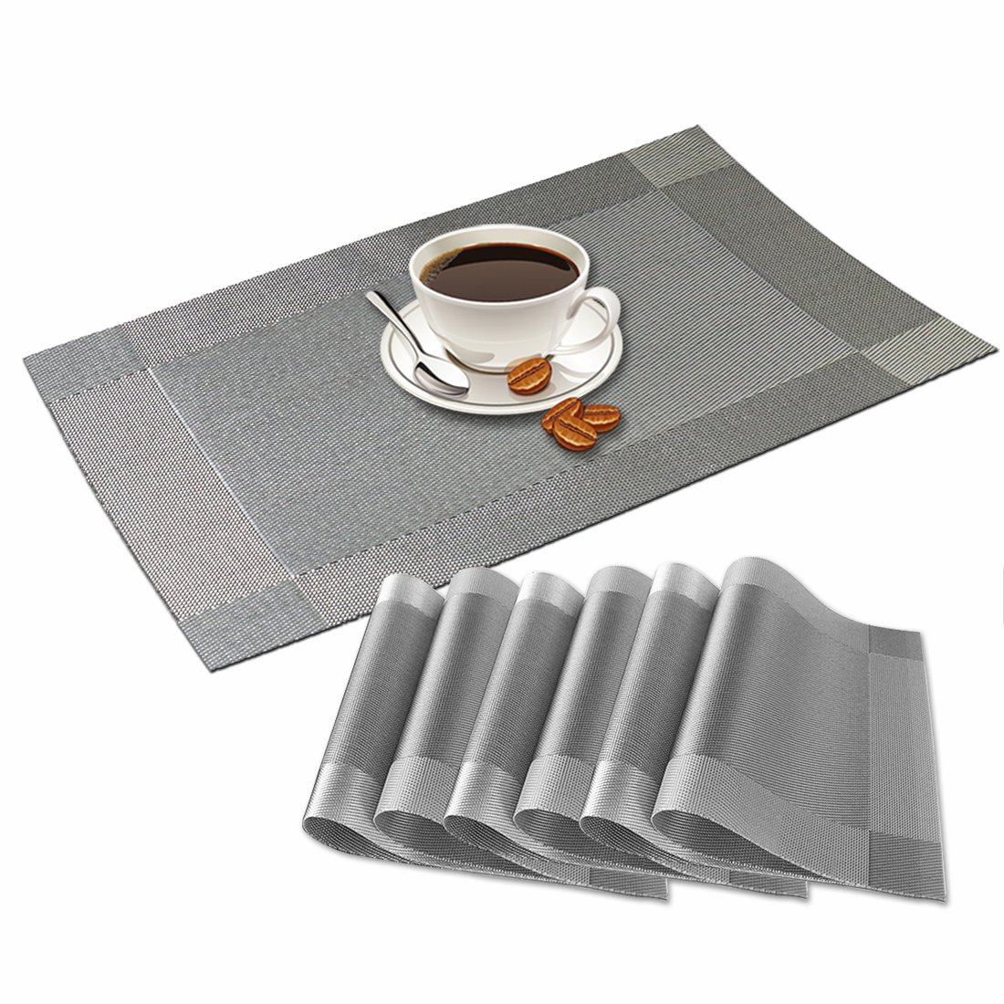 Idepet Heat Insulation Place mats Set of 6,Durable Non-Slip Table Place Mats for Kitchen Table,Stain Resistant Dinner Mats for Glass Table,Wood Table,Dining Table (Silver)