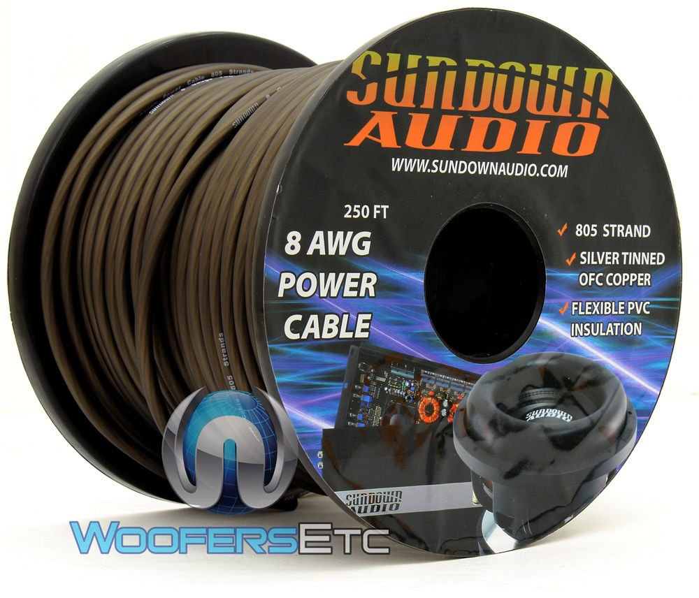 805 Strand Black - Sundown Audio 250Ft 8 AWG Power Cable by Sundown Audio