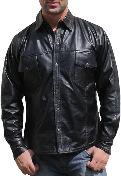 Camisa de piel de napa de moto de piel napa camisa Chopper camisa negro: Amazon.es: Coche y moto