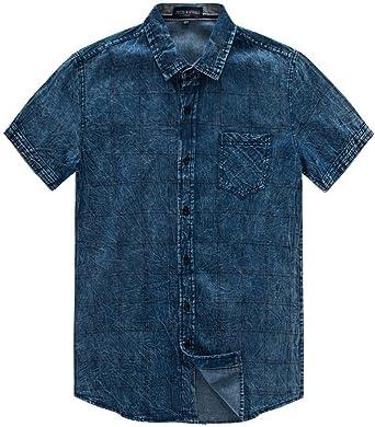 ursing Jeans camisas Verano Hombre Regular Fit Denim Camiseta Manga Corta Camisa Style de cowboy Camisa Camisas Verano Hombre Señor camisas Ocio Manga Corta Camisa con botón Super Modelos streetwear azul azul