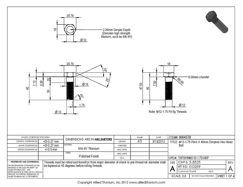 M12-1.75 Pitch X 40mm Titanium Hex Head Bolt Inc 608885001 Pack of 4 Ti-6Al-4V Allied Titanium 0004378, Grade 5