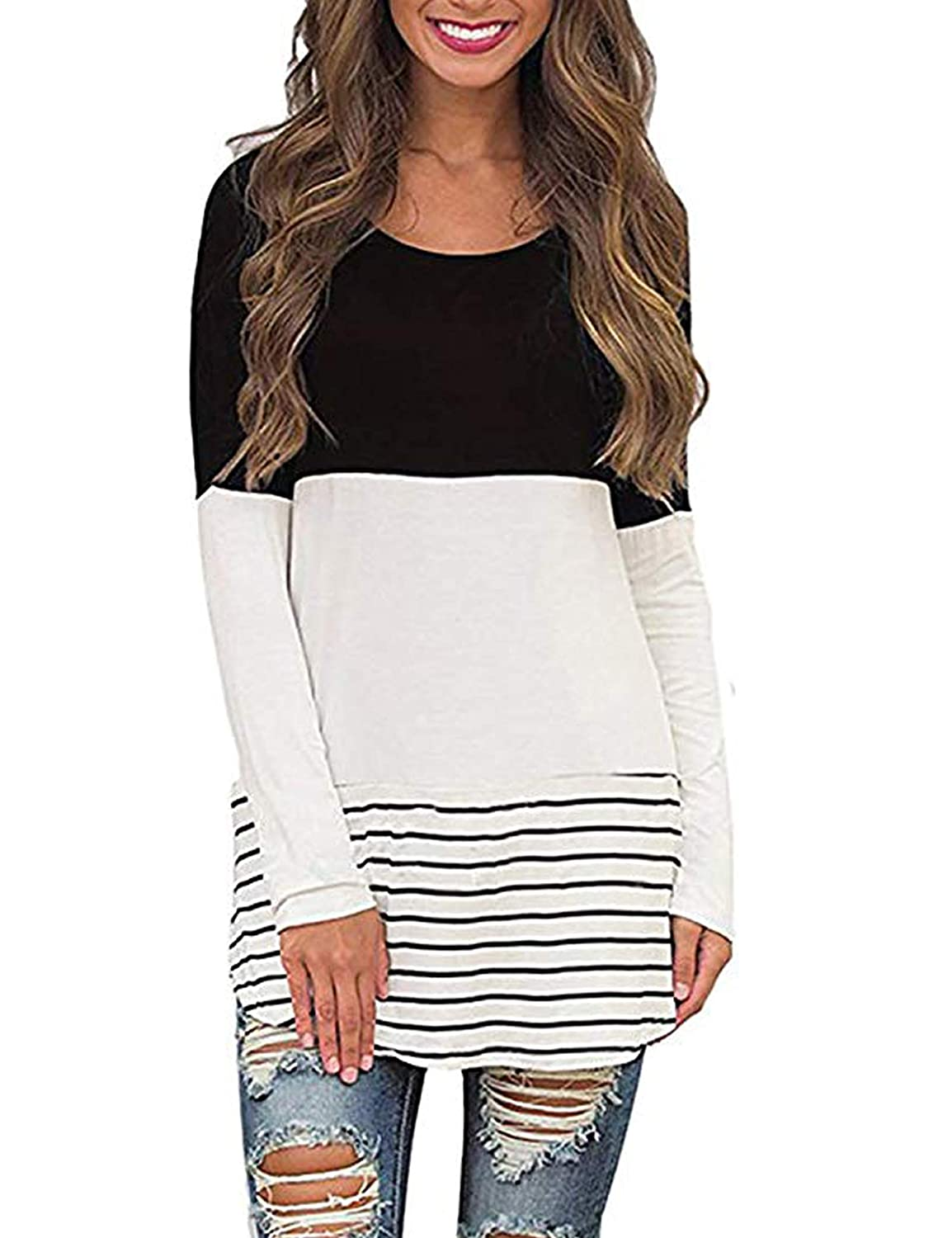 Black pasttry Women's Stripe color Block TShirt Long Sleeve Tunic Tees Blouses Tops