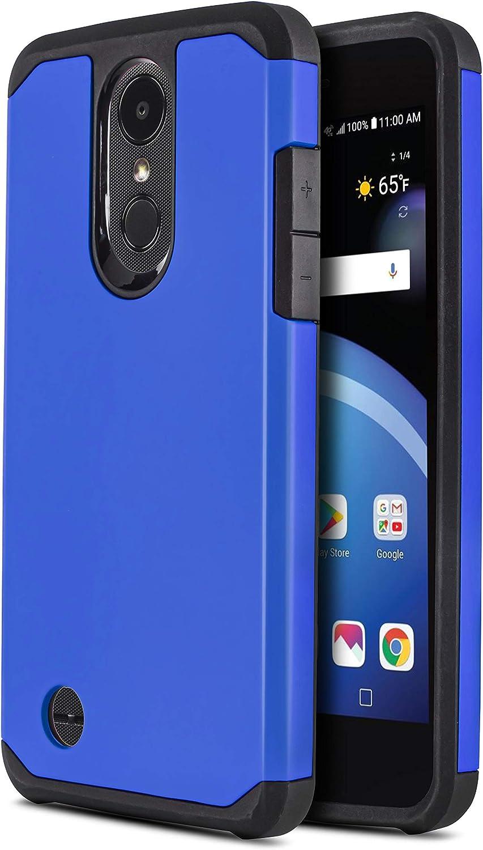 CasemartUSA Phone Case for [LG Phoenix 4 / LG Phoenix 3 (AT&T)], [DuoTEK Series][Blue] Shockproof Hard Cover [Impact Resistant][Defender] for LG Phoenix 3 & LG Phoenix 4 (AT&T)