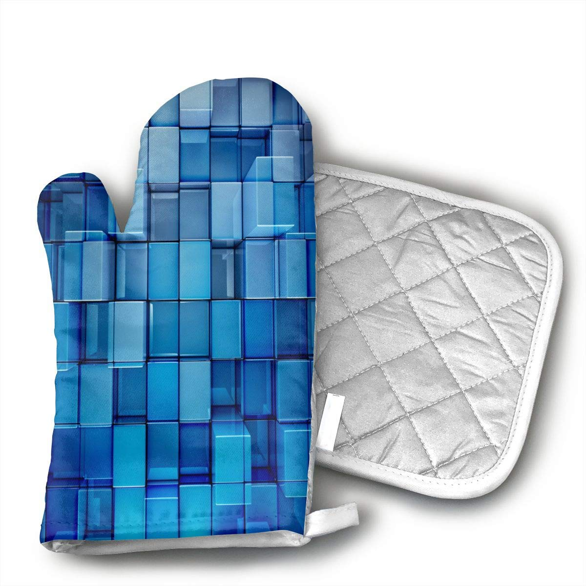 QEJIU 3D Cubes Oven Mitts - air Non-Slip Kitchen Oven Gloves Cooking,Baking,Grilling,Barbecue Potholders,