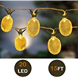 GIGALUMI Pineapple String Lights, 15ft 20 LED Fairy String Lights Battery Operated for Patio Home Wedding Party Bedroom Birthday Decoration (Warm White)