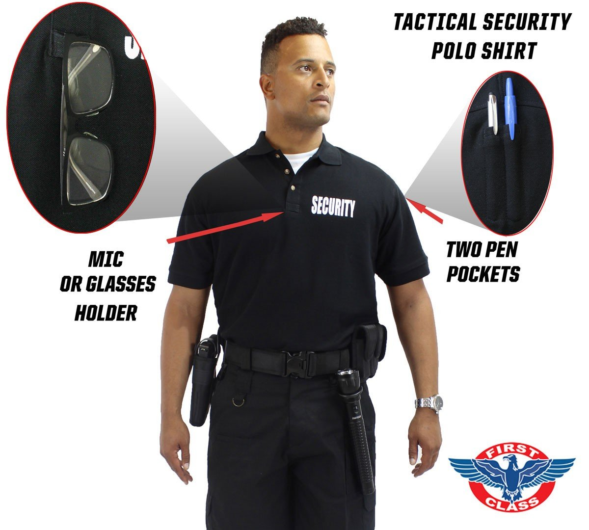 First Class Poly/Cotton 60%/40% Tactical Security Polo Shirts (Small, Black/White Security)