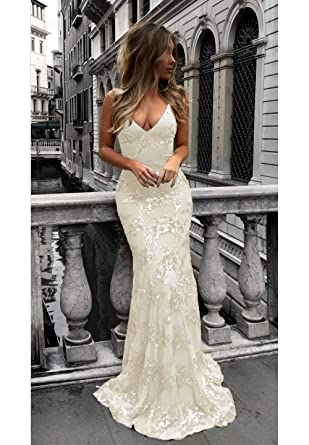 3605d5fc95a Beige Long Sexy Mermaid Prom Dresses V-Neck Open Back Sequin Formal Formal  Evening Gown