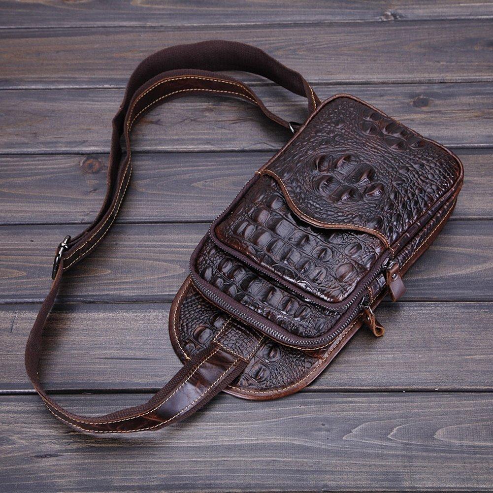 Männliche Brusttasche Freizeit Wachs Wachs Leder Tasche Krokodil Muster Schulranzen , braun