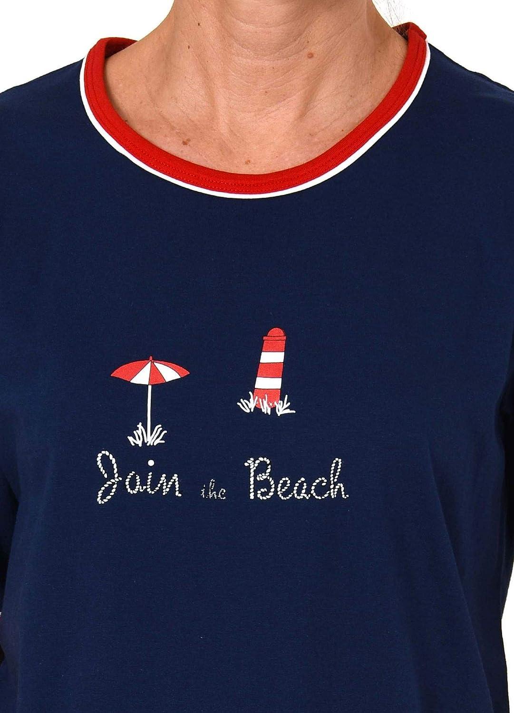 Maritimer Damen Shorty-Pyjama Kurzarm Schlafanzug von Normann 191 205 90 947
