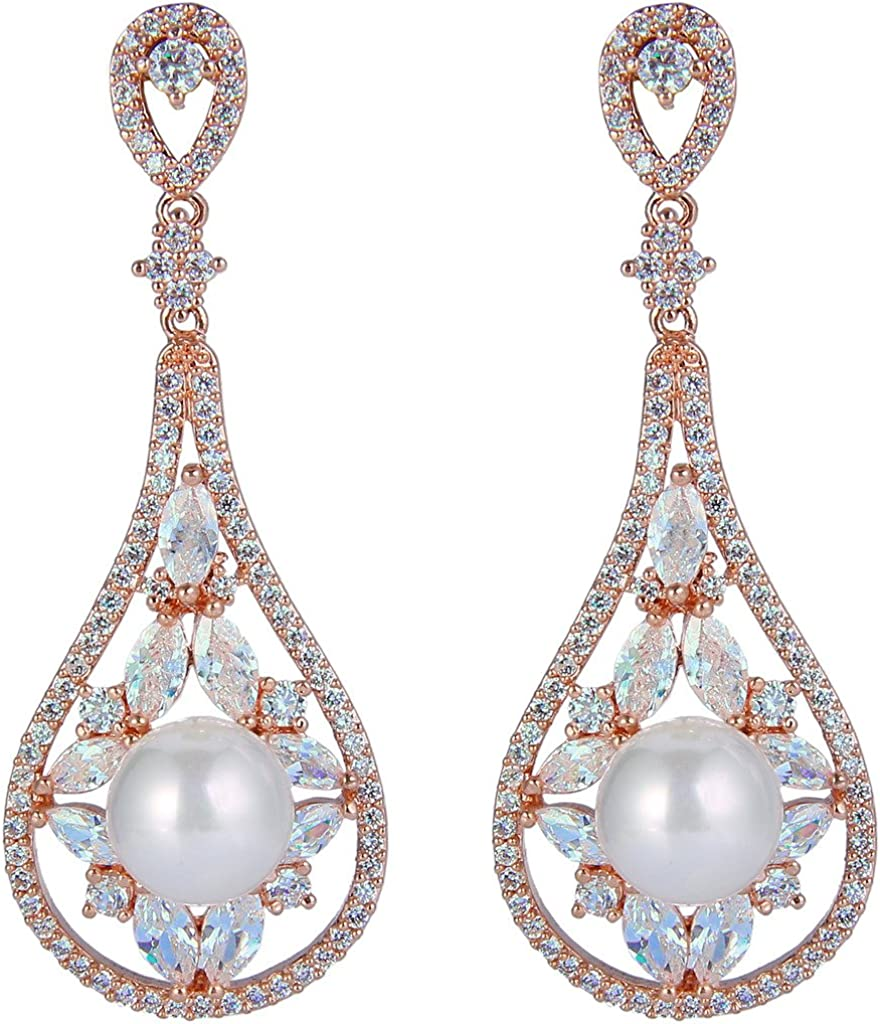 EVER FAITH Cubic Zirconia White Simulated Pearl Bridal Rose Water Drop Dangle Earrings
