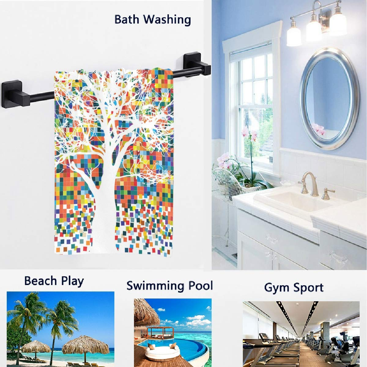 16 x 30 Inches Hotel Gym and Spa Naanle Chic Fresh Lifelike Lemon Leaves Pattern Soft Absorbent Guest Hand Towels Multipurpose for Bathroom