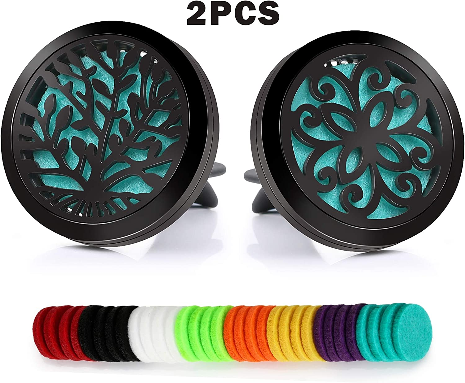 2PCS 30mm Car Essential Oils Diffuser Stainless Steel Car Aromatherapy Diffuser Vent Clip+32pcs Refill Pads (Tree of Life&Flower)
