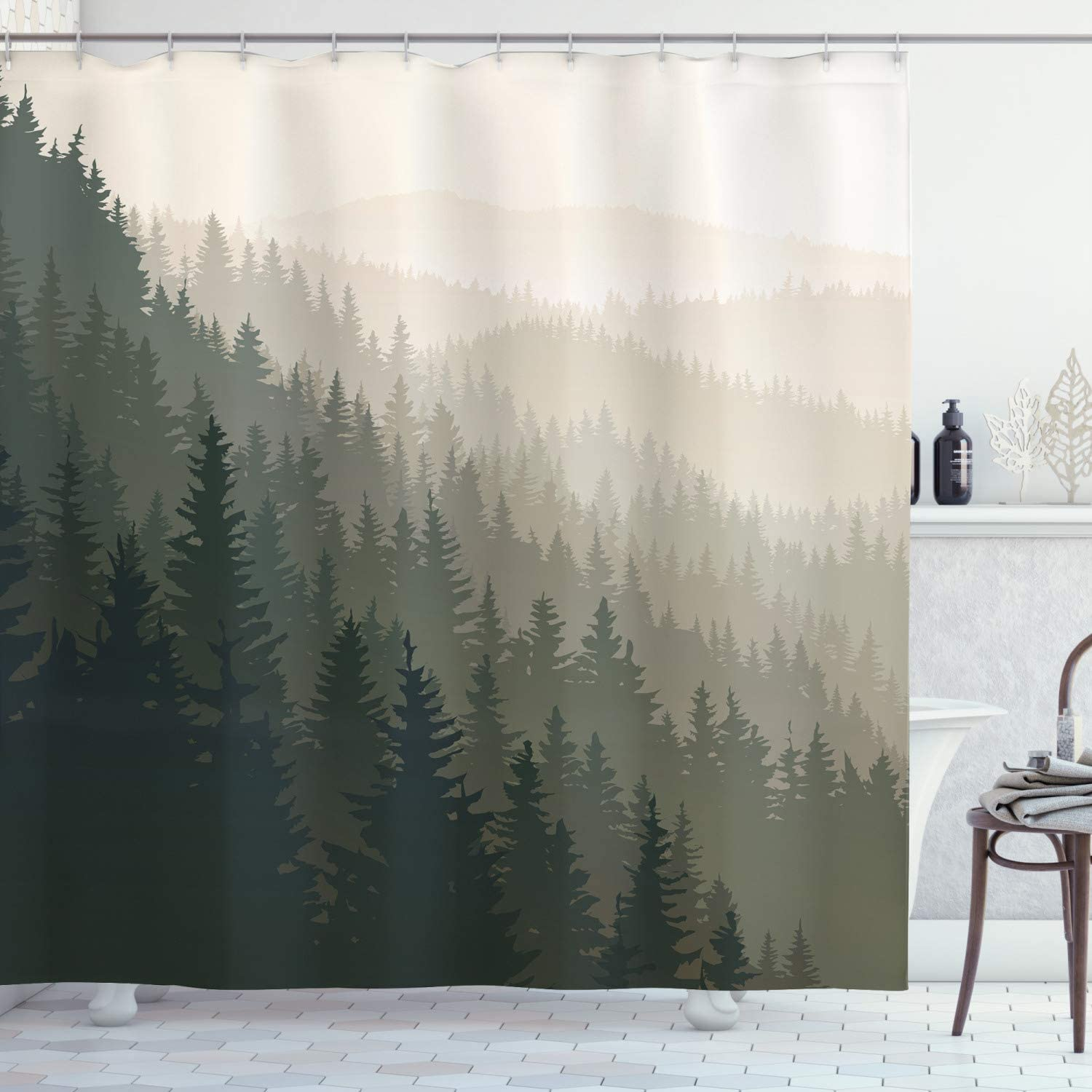 Details about  /Forest Shower Curtain Northern Nature Pattern Print for Bathroom