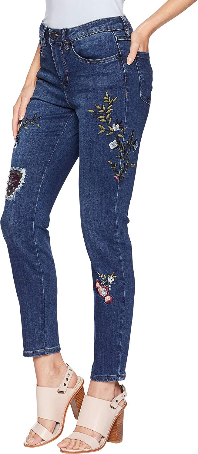 4e289cb7 FDJ French Dressing Jeans Womens Floral Embroidered Olivia Slim Ankle at  Amazon Women's Jeans store