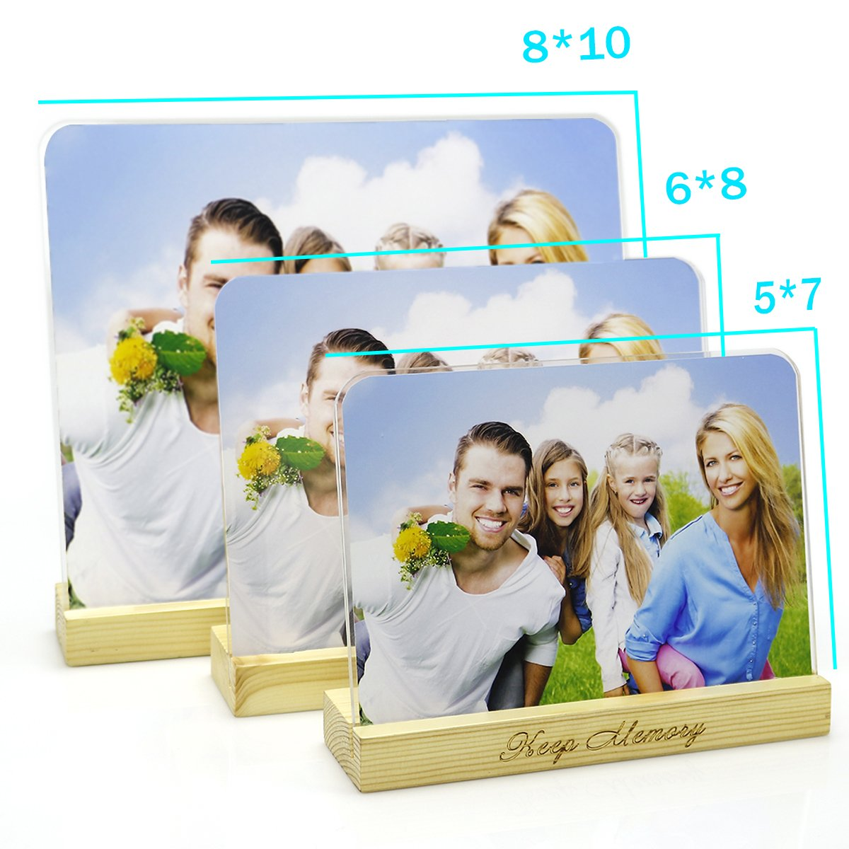 5x7 Clear Acrylic Picture Frame With Wood Holder - Round Corner Acrylic Glass Plate Picture Frame Stand on The Desk With a Wood Holder - Desk Calendar Display with Gift Box Package - SupperAcrylic