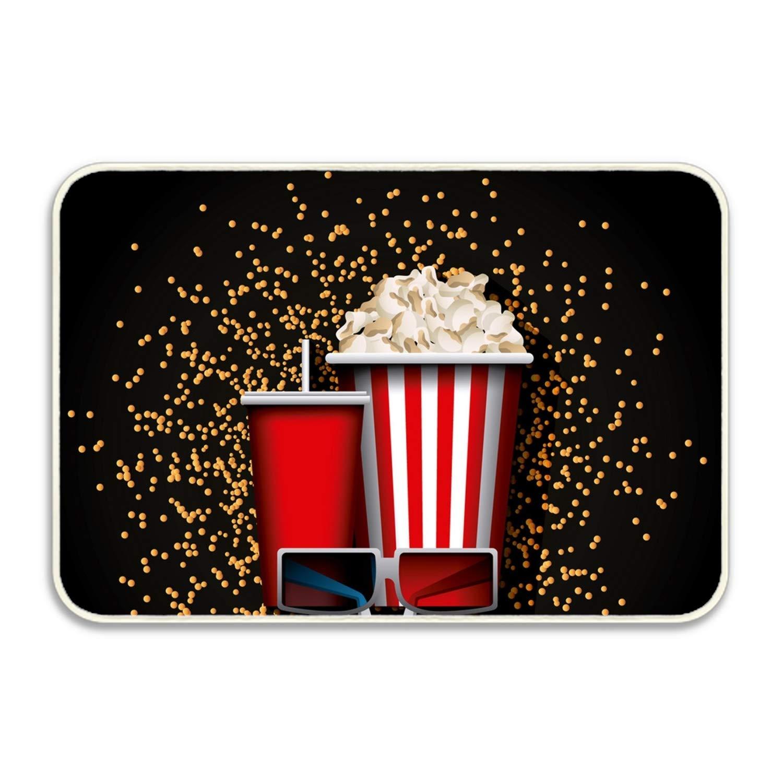 Movie Snacks Rectangular Doormat Funny Easily Fold Memory Foam Floor Mats for Home