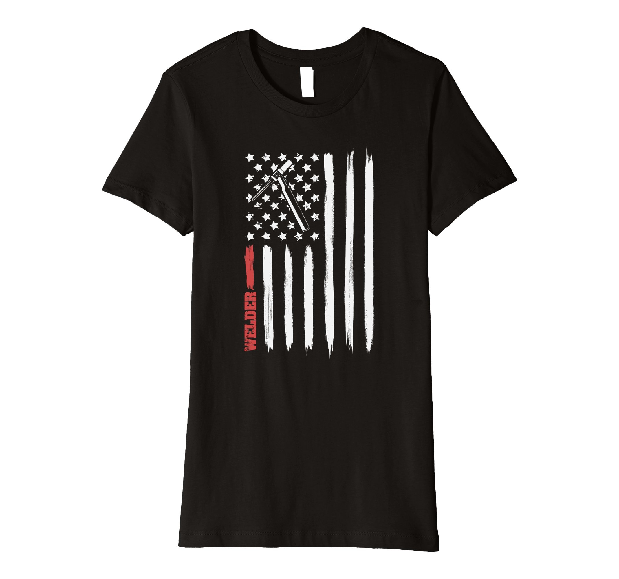 Womens Welding shirts | American Flag With Torch, Tig Welder Gift Large Black