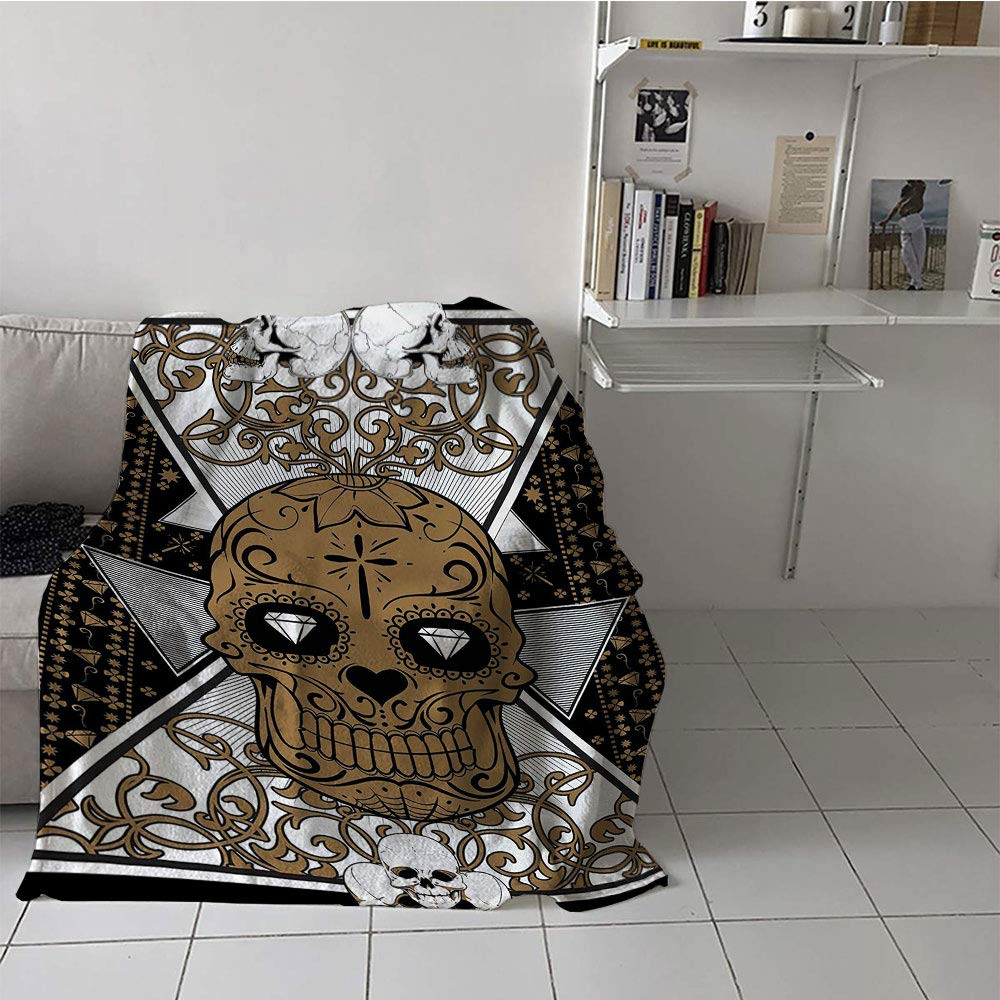 Khaki home Children's Blanket Print Lightweight All-Season Blanket (50 by 70 Inch,Tattoo,Skull with Diamond Eyes and Floral Theme Vine Art Tattoo Renaissance Inspired,Brown and Black
