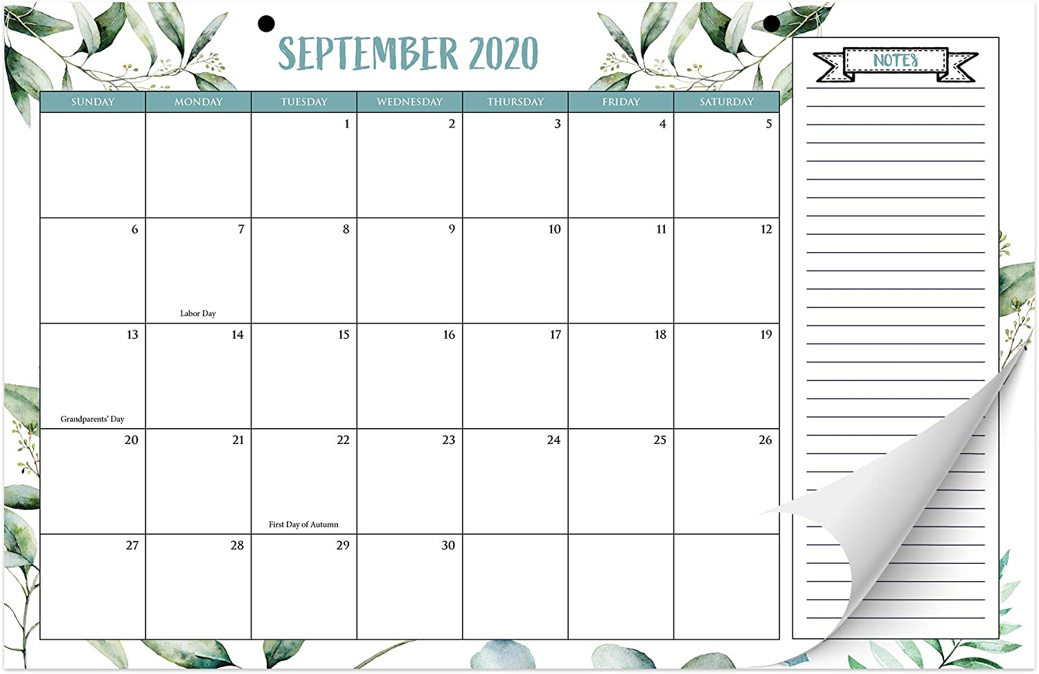 "Beautiful 2020-2021 Greenery Desk Calendar 17"" x 11"" - 18 Month Desktop/Wall Calendar with Note Section for Easy Planning Until August 2021"