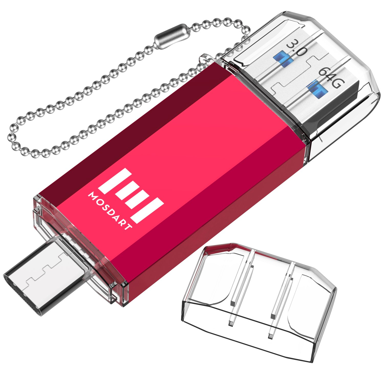 MOSDART 64GB Type C Dual Flash Drive (USB-A 3.0 / USB-C3.0) High Speed for USB C Smartphones,Tablets & New Macbook,Red (NOT for Micro USB Port)