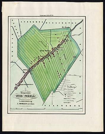 Amazon.com: Antique map-netherlands-town plan-oude pekela ...