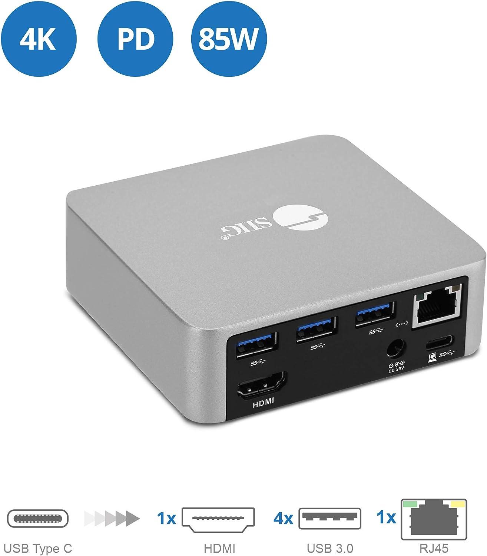 SIIG USB-C Mini Docking Station with HDMI 4K@30Hz, Gigabit Ethernet, 4X USB 3.0 Ports, Power Delivery - 85W Laptop Charging Type-C Dock (Thunderbolt 3 Compatible for Macbooks/Windows/Chromebooks)