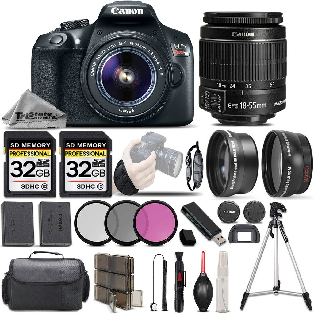 Canon EOS Rebel T6 Camera + Canon EF-S 18-55mm f/3.5-5.6 IS II Lens + 0.43X Wide Angle Lens + 2.2x Telephoto HD Lens - All Original Accessories Included - International Version by CANON