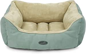 "Dog Bed Cat Pet Bed Machine Washable Luxury Soft PP Cotton-Filled Coral Fleece Bed for Small Medium Large Pet Green and Beige (27""x 20""x10"")"