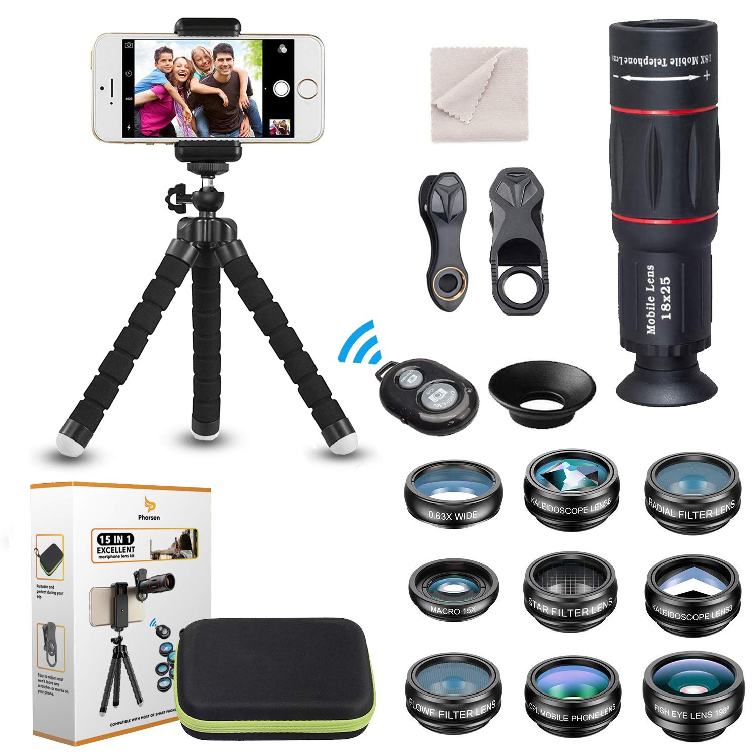 15 in 1 Universal Phone Camera Lens Kit 18X Telephoto lens Wide Angle lens,Macro Lens, Fisheye lens,Kaleidoscope 3/6 lens, CPL Flow Star Radial Filter, Tripod, Remote Shutter for most of Smartphone