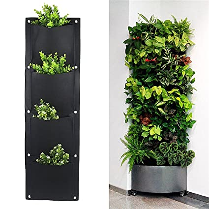 Amazon.com : Yunhigh 4 Pocket Garden Grow Bags Outdoor Indoor Rattan on home depot planters, vintage planters, white watering can planters, stone planters, black planters, mahogany planters, cache pots and planters, granite planters, wicker looking planters, willow planters, large square planters, portable bag planters,